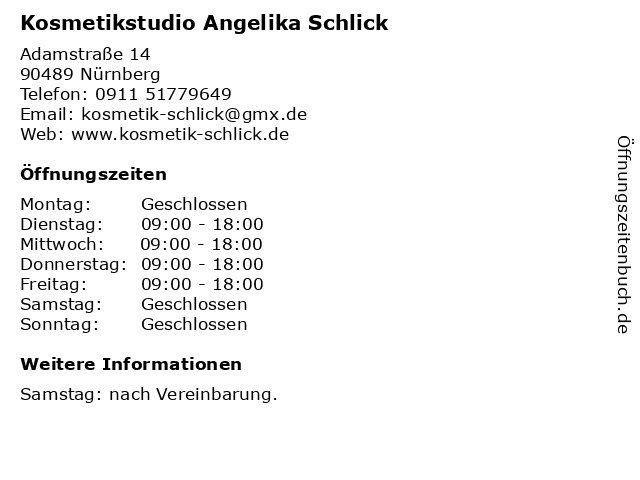 Kosmetikstudio Angelika Schlick in Nürnberg: Adresse und Öffnungszeiten