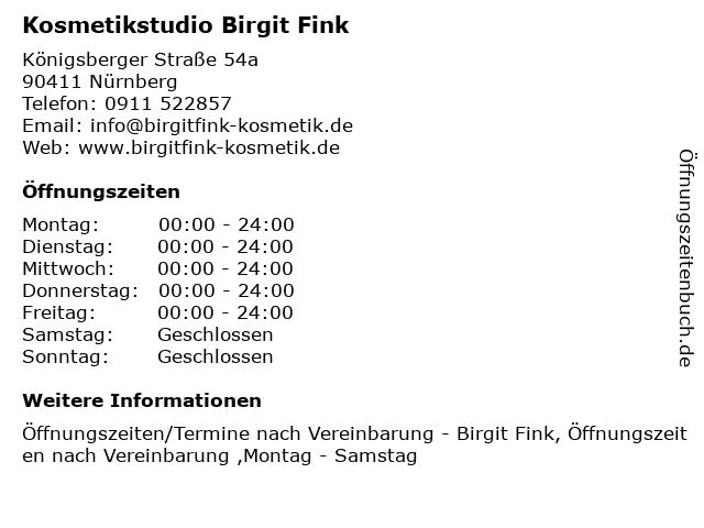 Kosmetikstudio Birgit Fink in Nürnberg: Adresse und Öffnungszeiten