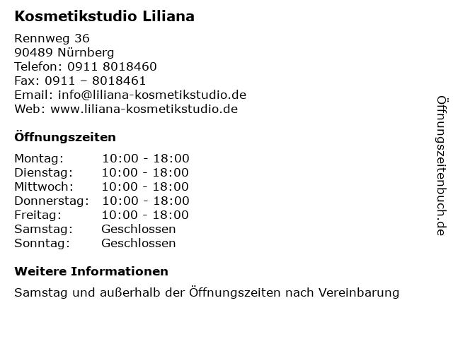 Kosmetikstudio Liliana in Nürnberg: Adresse und Öffnungszeiten