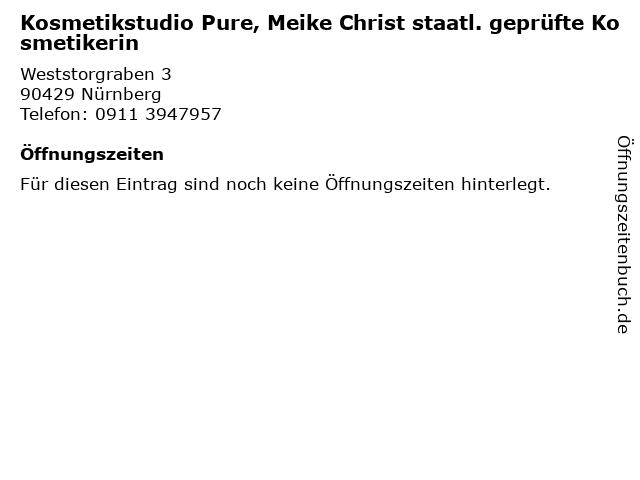 Kosmetikstudio Pure, Meike Christ staatl. geprüfte Kosmetikerin in Nürnberg: Adresse und Öffnungszeiten