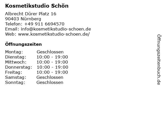 Kosmetikstudio Schön in Nürnberg: Adresse und Öffnungszeiten
