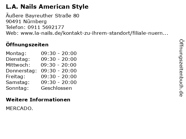 L.A. Nails American Style in Nürnberg: Adresse und Öffnungszeiten