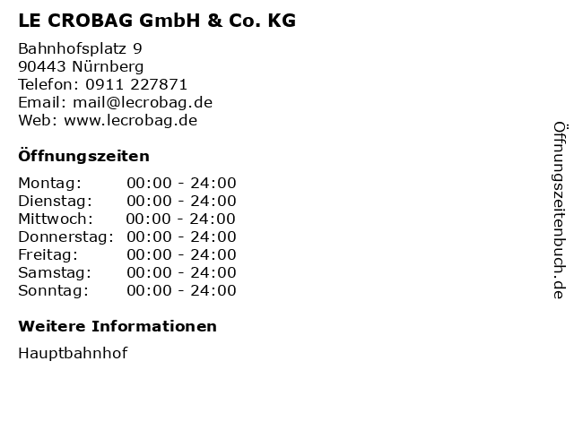 LE CROBAG GmbH & Co. KG in Nürnberg: Adresse und Öffnungszeiten