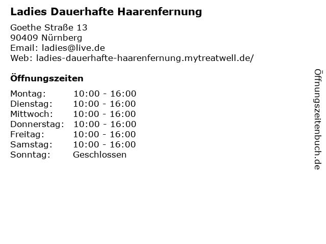 Ladies Dauerhafte Haarenfernung in Nürnberg: Adresse und Öffnungszeiten