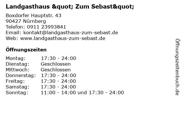 """Landgasthaus """" Zum Sebast"""" in Nürnberg: Adresse und Öffnungszeiten"""