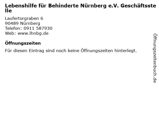 Lebenshilfe für Behinderte Nürnberg e.V. Geschäftsstelle in Nürnberg: Adresse und Öffnungszeiten