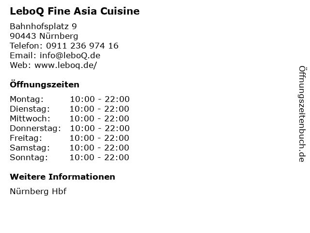 LeboQ Fine Asia Cuisine in Nürnberg: Adresse und Öffnungszeiten