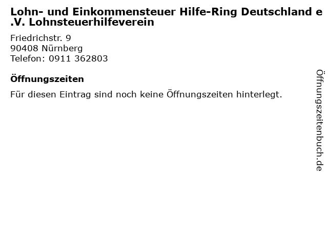 Lohn- und Einkommensteuer Hilfe-Ring Deutschland e.V. Lohnsteuerhilfeverein in Nürnberg: Adresse und Öffnungszeiten