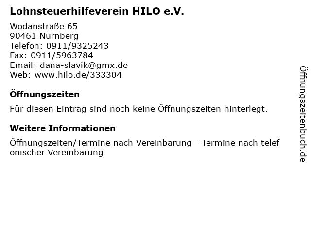 Lohnsteuerhilfeverein HILO e.V. in Nürnberg: Adresse und Öffnungszeiten