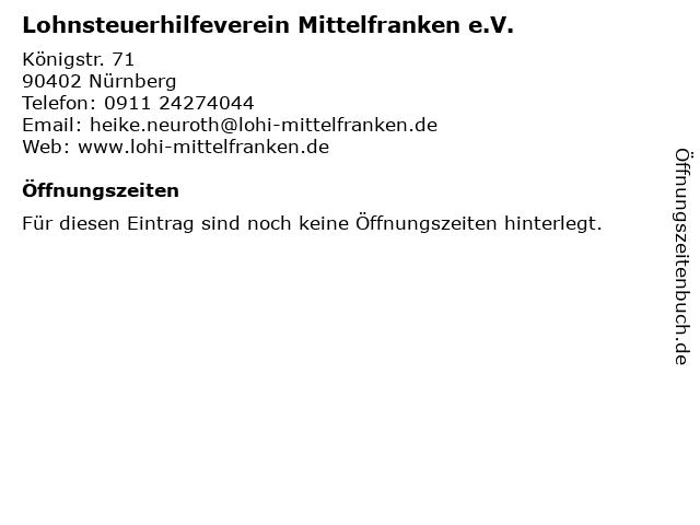 Lohnsteuerhilfeverein Mittelfranken e.V. in Nürnberg: Adresse und Öffnungszeiten