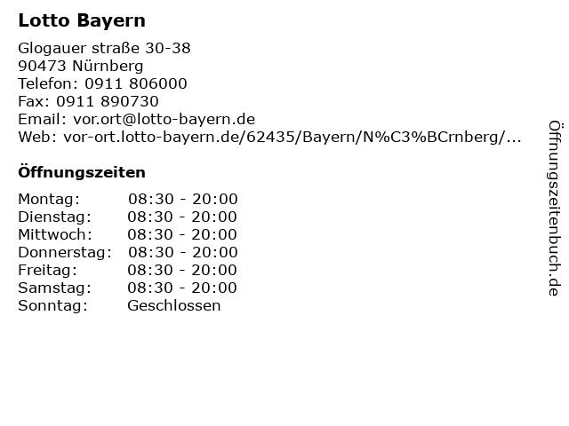 Lotto Bayern in Nürnberg: Adresse und Öffnungszeiten