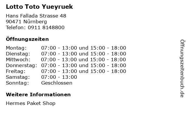 Lotto Toto Yueyruek in Nürnberg: Adresse und Öffnungszeiten