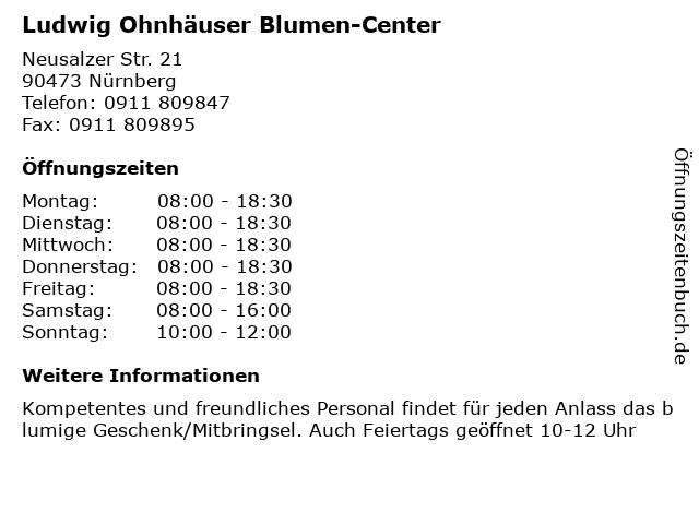 Ludwig Ohnhäuser Blumen-Center in Nürnberg: Adresse und Öffnungszeiten