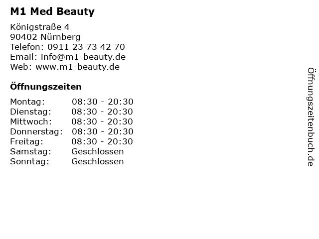M1 Med Beauty in Nürnberg: Adresse und Öffnungszeiten