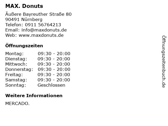 MAX. Donuts in Nürnberg: Adresse und Öffnungszeiten