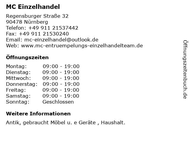 MC Einzelhandel in Nürnberg: Adresse und Öffnungszeiten