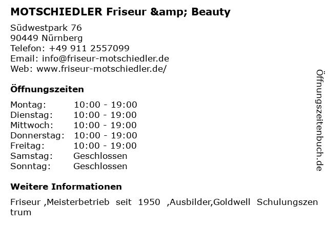 MOTSCHIEDLER Friseur & Beauty in Nürnberg: Adresse und Öffnungszeiten