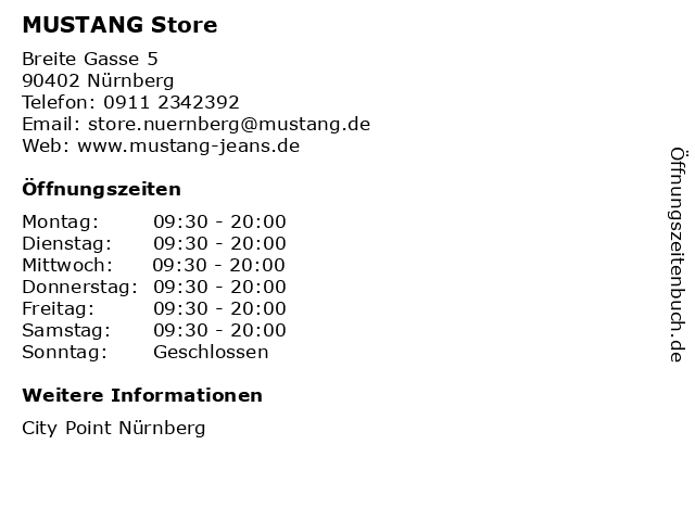 MUSTANG Store in Nürnberg: Adresse und Öffnungszeiten