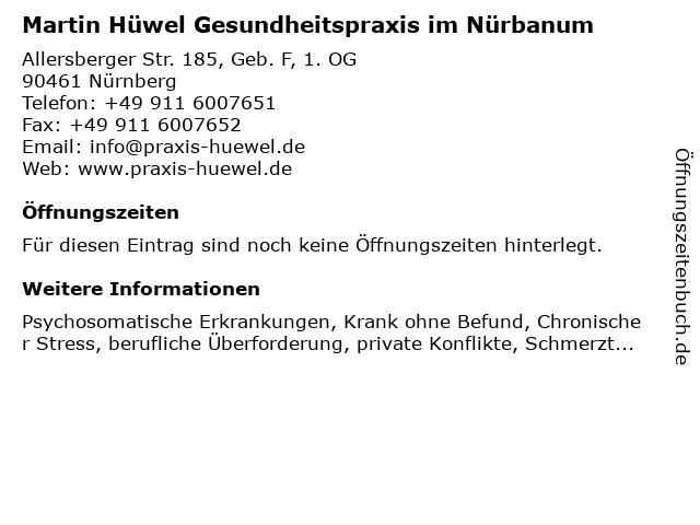 Martin Hüwel Gesundheitspraxis im Nürbanum in Nürnberg: Adresse und Öffnungszeiten