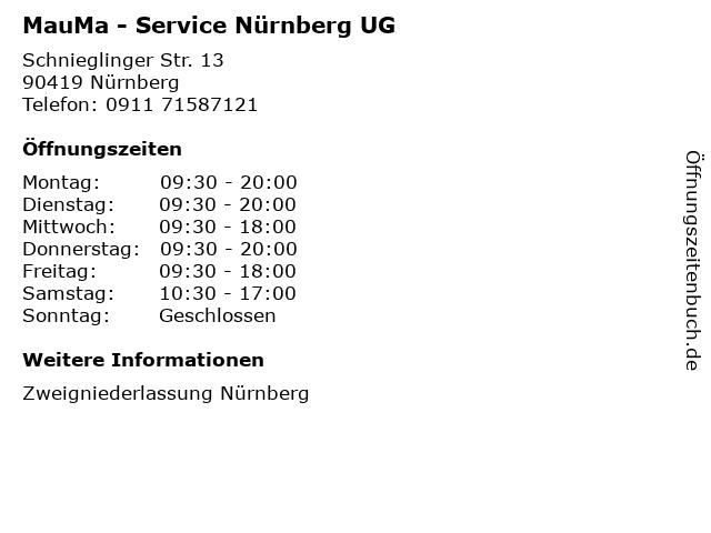 MauMa - Service Nürnberg UG in Nürnberg: Adresse und Öffnungszeiten