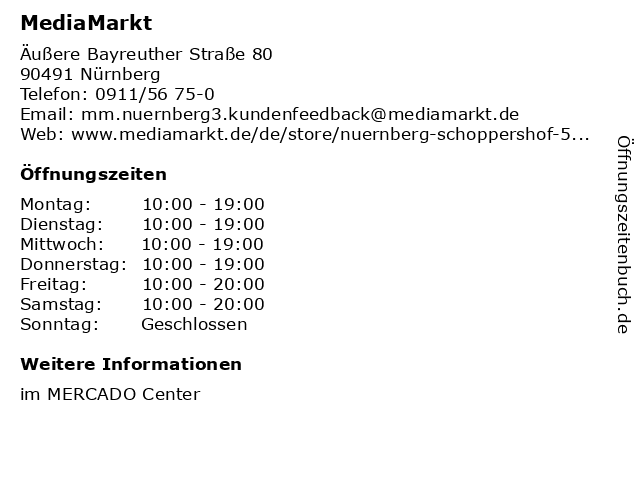 Media Markt TV-HiFi-Elektro GmbH in Nürnberg: Adresse und Öffnungszeiten