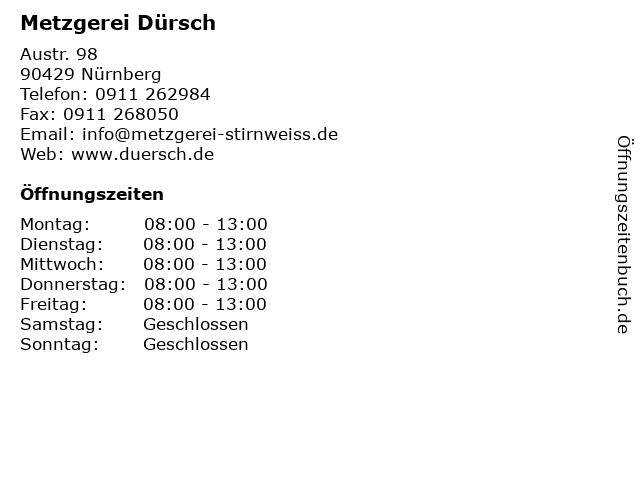Metzger Dürsch, Thomas Dürsch in Nürnberg: Adresse und Öffnungszeiten