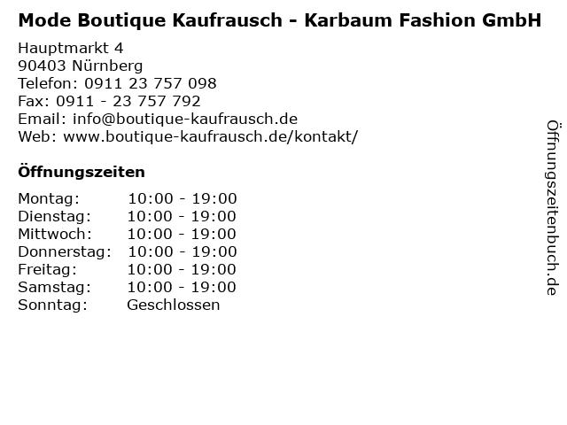 Mode Boutique Kaufrausch - Karbaum Fashion GmbH in Nürnberg: Adresse und Öffnungszeiten