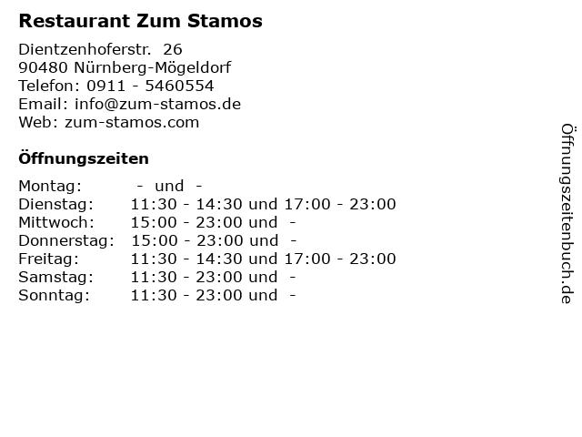 Restaurant Zum Stamos in Nürnberg-Mögeldorf: Adresse und Öffnungszeiten