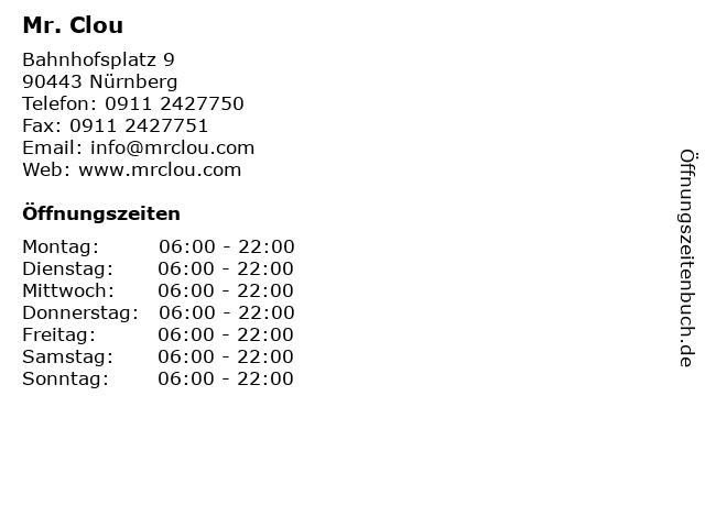 Mr. Clou in Nürnberg: Adresse und Öffnungszeiten