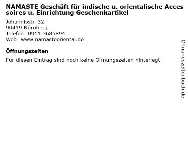 NAMASTE Geschäft für indische u. orientalische Accessoires u. Einrichtung Geschenkartikel in Nürnberg: Adresse und Öffnungszeiten