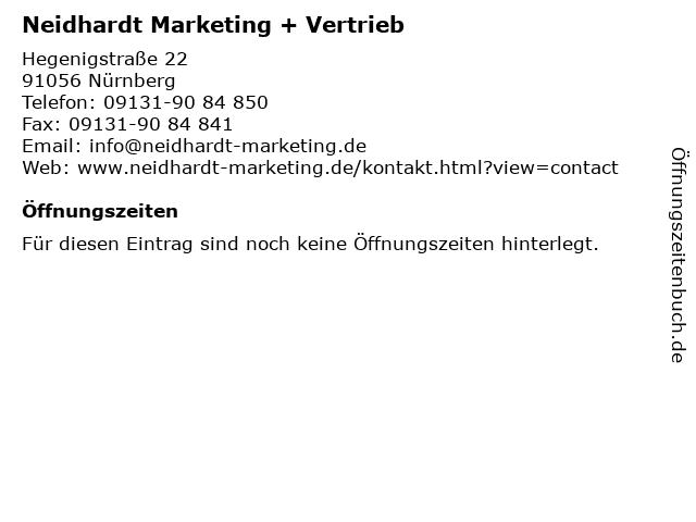 Neidhardt Marketing + Vertrieb in Nürnberg: Adresse und Öffnungszeiten