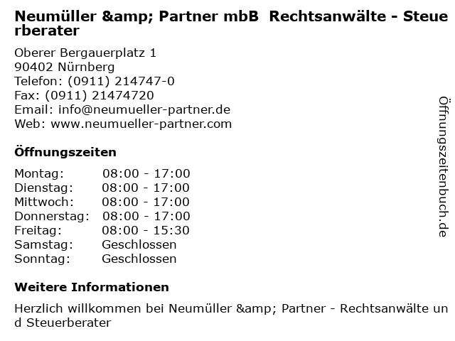 Neumüller & Partner mbB  Rechtsanwälte - Steuerberater in Nürnberg: Adresse und Öffnungszeiten