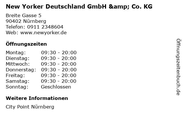 New Yorker Deutschland GmbH & Co. KG in Nürnberg: Adresse und Öffnungszeiten