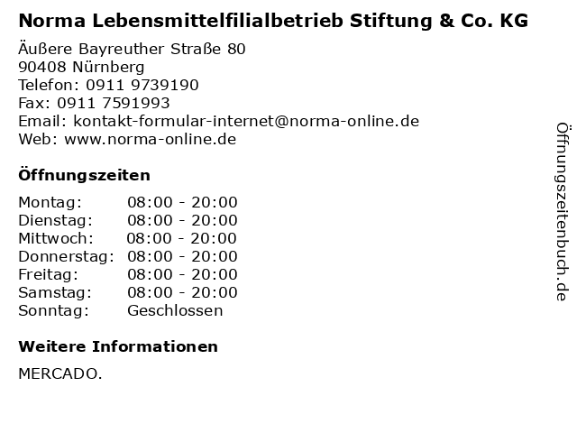 Norma Lebensmittelfilialbetrieb Stiftung & Co. KG in Nürnberg: Adresse und Öffnungszeiten