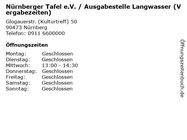 Nürnberger Tafel e.V. / Ausgabestelle Langwasser (Vergabezeiten) in Nürnberg: Adresse und Öffnungszeiten