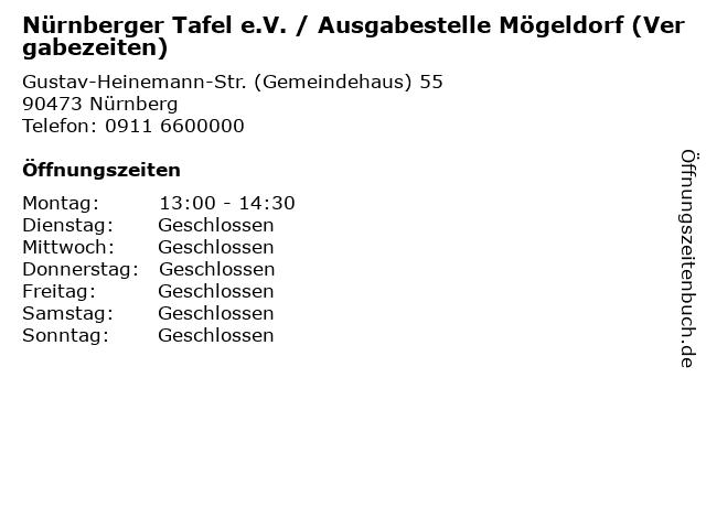 Nürnberger Tafel e.V. / Ausgabestelle Mögeldorf (Vergabezeiten) in Nürnberg: Adresse und Öffnungszeiten