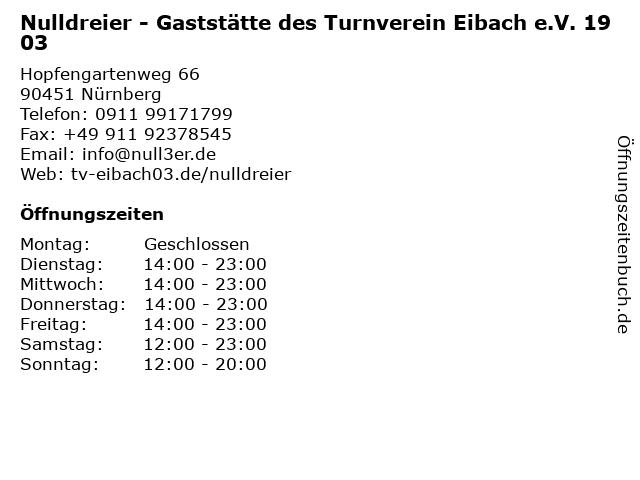 Nulldreier - Gaststätte des Turnverein Eibach e.V. 1903 in Nürnberg: Adresse und Öffnungszeiten