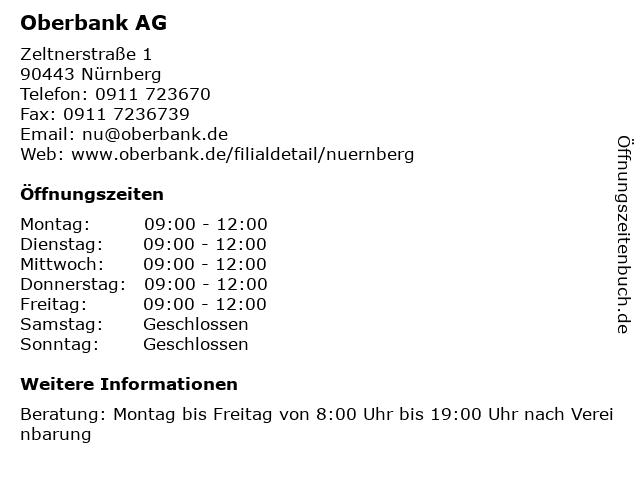 Oberbank AG in Nürnberg: Adresse und Öffnungszeiten