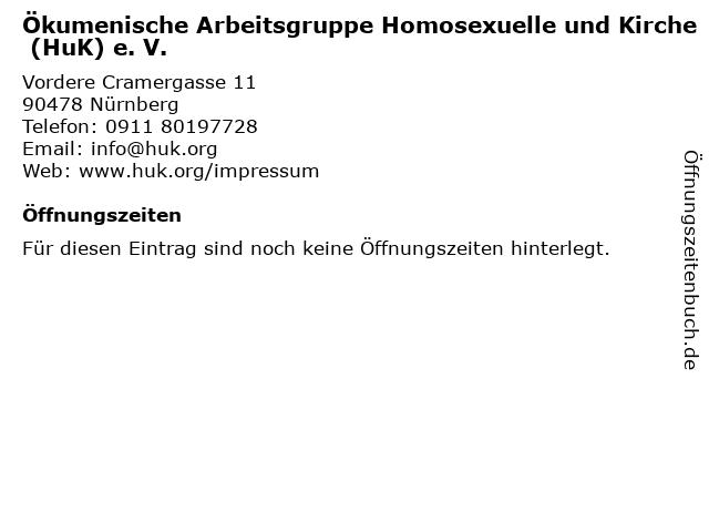 Ökumenische Arbeitsgruppe Homosexuelle und Kirche (HuK) e. V. in Nürnberg: Adresse und Öffnungszeiten