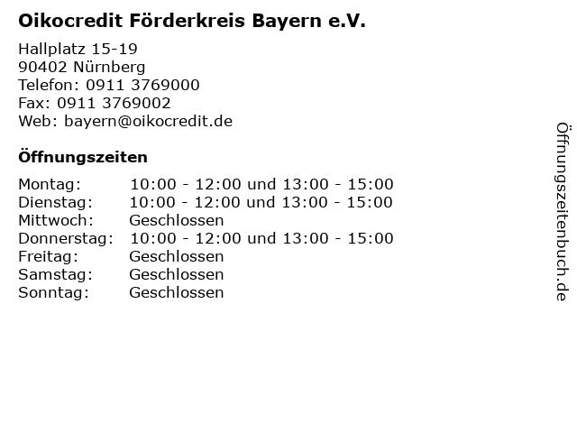 Oikocredit Förderkreis Bayern e.V. in Nürnberg: Adresse und Öffnungszeiten