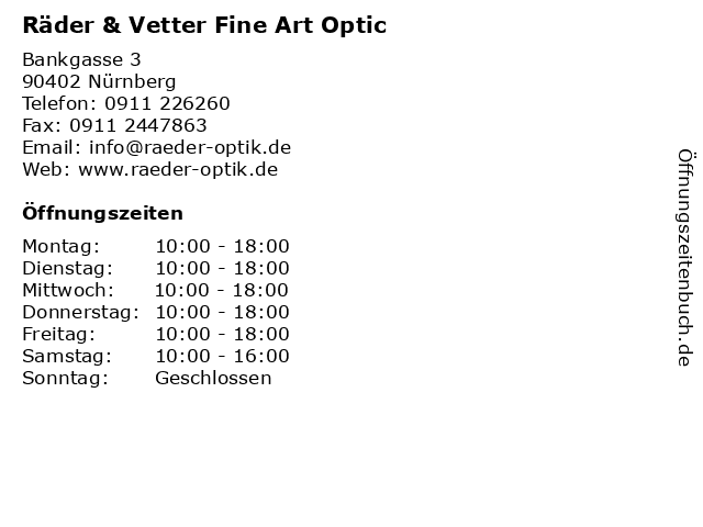 Räder & Vetter Fine Art Optic in Nürnberg: Adresse und Öffnungszeiten