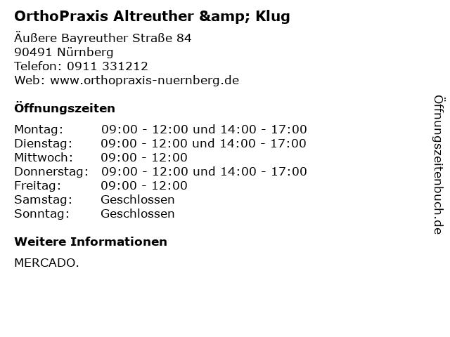 OrthoPraxis Altreuther & Klug in Nürnberg: Adresse und Öffnungszeiten