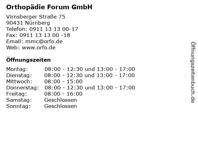 Orthopädie Forum GmbH in Nürnberg: Adresse und Öffnungszeiten