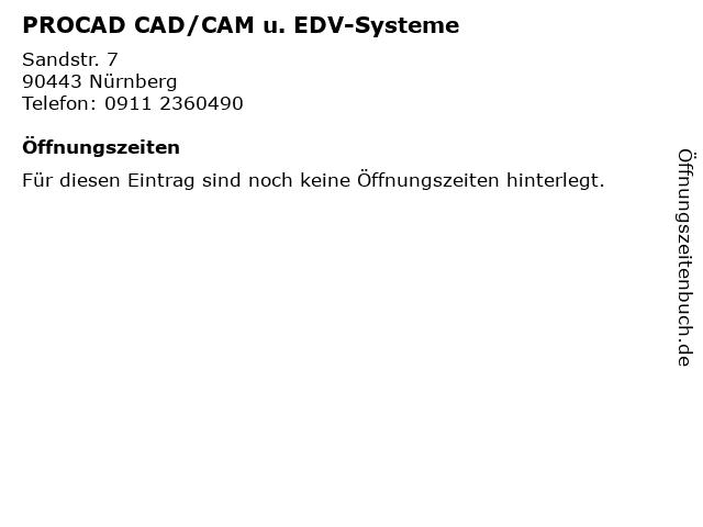 PROCAD CAD/CAM u. EDV-Systeme in Nürnberg: Adresse und Öffnungszeiten