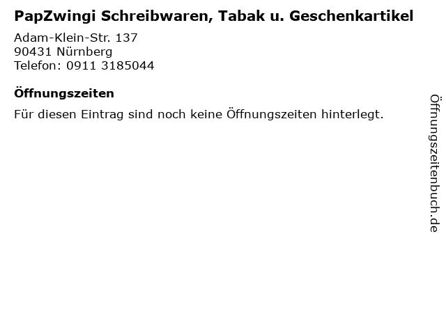 PapZwingi Schreibwaren, Tabak u. Geschenkartikel in Nürnberg: Adresse und Öffnungszeiten