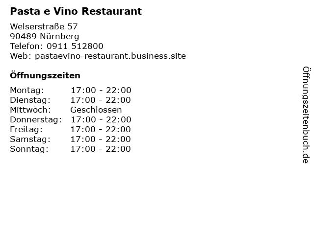 Pasta e Vino Restaurant in Nürnberg: Adresse und Öffnungszeiten