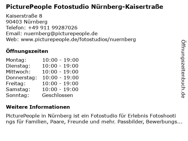 PicturePeople Fotostudio Nürnberg-Kaisertraße in Nürnberg: Adresse und Öffnungszeiten