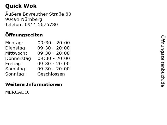 Quick Wok in Nürnberg: Adresse und Öffnungszeiten