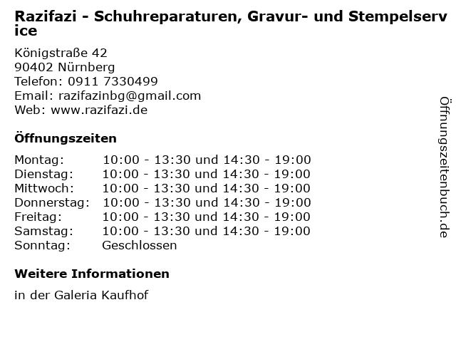 Razifazi - Schuhreparaturen, Gravur- und Stempelservice in Nürnberg: Adresse und Öffnungszeiten