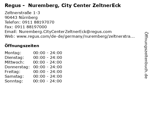 Regus - Nuernberg, City Center ZeltnerEck in Nürnberg: Adresse und Öffnungszeiten